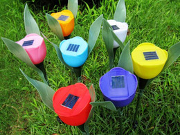 Wholesale Solar Led Flowers - 12pcs Lot Colorful Solar Tulip Flower Light Powered Flower LED Lawn Lamps for Outdoor Garden Light Decoration Freeshipping