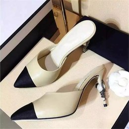 Wholesale Genuine Woman Leather Sandals - New Fashion Ladies Sandals Genuine leather Stiletto heels Slip on Slides Single Shoes Mixcolor Pearls Heels Woman Wedding Shoes
