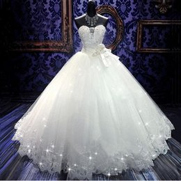 Wholesale Dresses Real Photoes - 2017 High Quality Real Photoes Bling Bling Crystal Wedding Dresses Back Bandage Tulle Appliques Floor Length Ball Gown Wedding Gowns