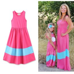 Wholesale Children Maxi - Everweekend Girls Stipes Patchwork Maxi Cotton Dress Ruffles Summer Boho Cute Children Dress Western Ins Hot Sell Dresses