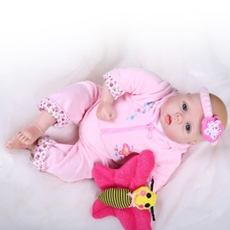 Wholesale Boys Baby Doll Clothing - 22''Handmade Lifelike Baby Boy Girl Silicone Vinyl Reborn Newborn Dolls +Clothes Reborn Baby Doll Baby Doll Toys