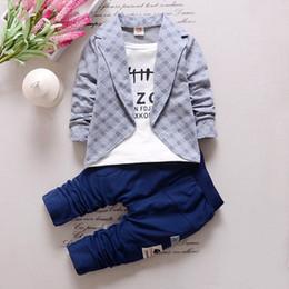 Wholesale 18 Month Boy Coat - New 2017 Spring Autumn children boys girls clothing sets 4 colors clothes coat+T shirt pant baby kids 3pcs suit