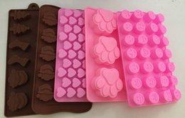 Wholesale Silicone Cake Moulds Wholesale - 5pcs lot Chocolate Mold Cake Decoration Silicone Cat Dog Paw Emoji Expression Heart Christmas Soap Candy Mold