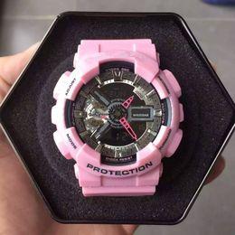 Wholesale Luxury Ladies Watch Box - 2017 Luxury New Shock Women Sports Watch Digital Outdoor G Clock Women Dress Pink White Lady Watch with Gift Box Quartz-watch hodinky