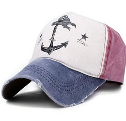 Wholesale Old Couple - 2017 Spring Autumn Couples Hat For Man And Woman Pure Cotton baseball Caps Do Old Pirate Ship Anchor Brand Hats 7 colors 8102