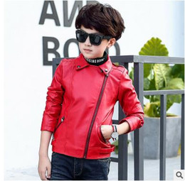 Wholesale Leather Jacket Black Wholesale - Big boys coats Kids rivet PU leather jackets fashion children lapel zipper up coats Boys double-pockets leisure outwear Kids clothing G0954