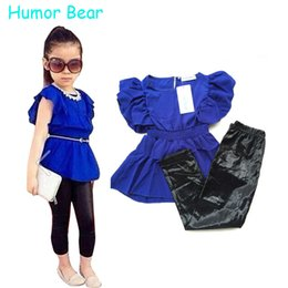 Wholesale Dresses Baby Cool - Wholesale- Humor Bear Girls Clothes Fashion Summer Children Girls Clothing Sets Blue Shirt Dress + Black Leggings Cool Baby Kids 2Pcs Suits