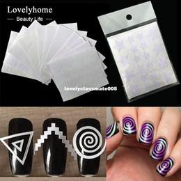 Manicure francês dicas ponta unha on-line-12 pcs unhas etiqueta dicas guia de estêncil redemoinhos franceses manicure nail art decalques formulário fringe diy 3d styling ferramentas de beleza