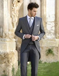 Wholesale Classy Winter Jackets - Classy Wedding Tuxedos Tailcoat Slim Fit Suits For Men Jacket Vest And Pants Groom Men Suit Three Pieces Prom Formal Suits