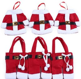 Wholesale Cheap Red Decor - High Quality Cheap 10 PC coat+pant 1 set Red Santa Christmas Decorations Silverware Holders Pockets Dinner Table Decor