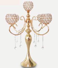 Lampadari da tavolo online-cristallo di hangging Fiore Nuovo design Bowl top Candelieri di cristallo centrotavola per tavolo da sposa