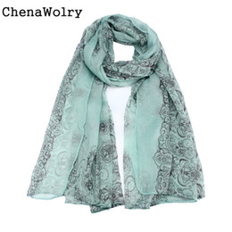 Wholesale Wholesale Red Sun Scarves - Wholesale- ChenaWolry 1PC Hot Sales Attractive Luxury New Women Lady Classical Print Scarf Scarves Sun Protection Gauze Kerchief Nov 8