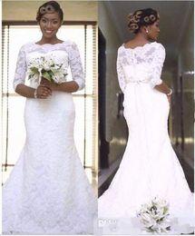 Wholesale T Shirt For Beach - 2017 Full Lace Modest Wedding Dresses 3 4 Long Sleeve Jewel Neck Mermaid Africa Bridal Gown For Garden Beach Wedding Vestidos De Noivas