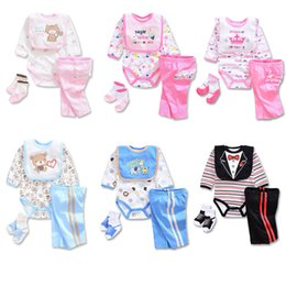 Wholesale Socks Pieces - 10 colors Newborns Spring cartoon Romper 4pc set embroidery Bib Romper Pants Socks Baby clothes girls boys best gifts Outfits for 3-12M