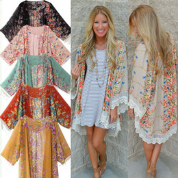 Wholesale Open Out Tops - Wholesale- 2016 Hot UK Women Boho Chiffon Cardigan Hippie Kimono Blouse Cape Shawl Jacket Ladies Top
