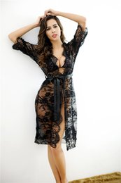 Wholesale Floral Trade - Europe and America Foreign Trade Top Grade Sexy Lingerie Europe Sexy Lace Long Dress Large Size Women's Sleepwear 001