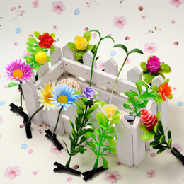 Wholesale Kids Indian Wear - Lovely Flower Hair Clips Baby Bud Grass On Head Kids Hairpins Bean Sprout Hair Wear Accessories