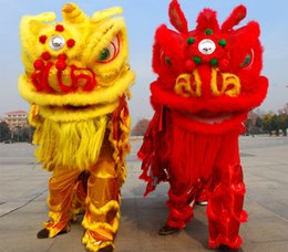 Wholesale Yellow Star Costume - OISK quality children new Lion Dance mascot Costume made of pure wool Southern Lion Adult size chinese Folk costume