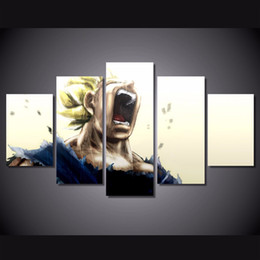 Wholesale Ball Poster - 5 Pcs Set Framed HD Printed Dragon Ball Z Super Saiyan Picture Wall Art Canvas Print Decor Poster Canvas Oil Painting
