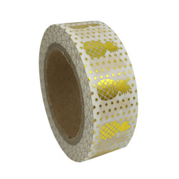 scrapbooking tapes UK - Wholesale- 2016 Pineapple Foil Washi Paper Tape Office Adhesive Scrapbooking Tools Kawaii For Photo Album Decorative Craft Gift Paper Craf