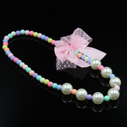 Wholesale Handmade Sweaters Children - Children color Bead Necklace Handmade DIY bead bow sweater chain wholesale