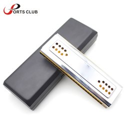 Wholesale Wind Clean - Wholesale-Dural Key of C G 24 Double Holes Mouth Organ Swan Dual-sided Tremolo Harmonica Reed Wind Instrument with Box Clean Cloth