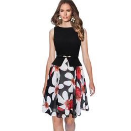 Vestito chiffon nero dalla tunica online-2017 Womens Summer Vintage elegante cinturino nero blu chiffon stampa patchwork tunica lavoro ufficio partito A-Line Dress