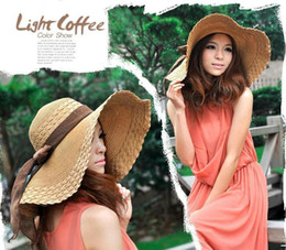 Wholesale Kentucky Bow Tie - 2017 Summer beach new Free Wholesale Retail Fashion Women Wide Large Brim Floppy Summer Beach Sun hat for women Straw Hat Cap with big bow