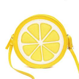 Wholesale Lemon Yellow Handbags - Wholesale- 2016 lovely Mini Fruit Bags PU leather Messenger Bags Fashion Circular handbags yellow lemon shoulder bag crossbody QT-290