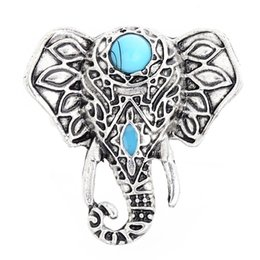 Wholesale Vintage Elephant Ring - 1 Pc Bohemia Vintage Tibetan Silver Plated Animal Rings For Women Boho Unique Turquoise Design Jewelry Elephant Ring