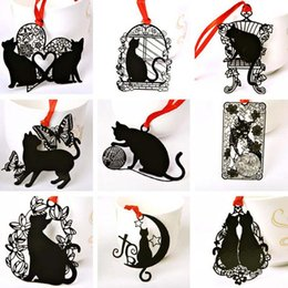 Wholesale Metal Cat Bookmark Wholesale - 5pcs lot Lovely Cute Metal Bookmark Black Cat Book Holder for Book Paper Creative Gift Stationery Free Shipping Gift Prize Material Escolar