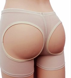 Wholesale Net Sexy Panties - EuropeStyle net yarn sexy toning carry buttock pants wommen's shapewear exposed buttocks black Khaki 2 colors boxers underpants B46600