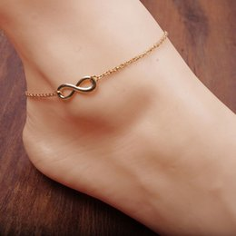 Wholesale Trendy Charm Bracelets - Wholesale Gold Infinity Charm Anklets Bracelets With Link Chains High Quality Classic 8 Foot Chain Jewelry For Women