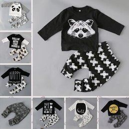Wholesale Baby Short Leggings - Baby Boys Clothing Sets Baby Girls Boys Fox Cotton Tops T-shirt+Pants Leggings 2pcs Outfits Set Costume