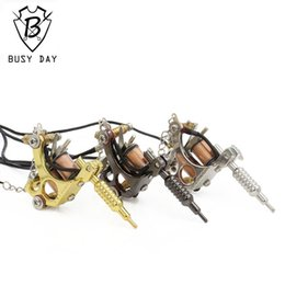 Wholesale Mini Tattoo Pendants - Wholesale-2016 Promotion Real Tattoo Machines 1pc Mini Tattoo Machine Pendant With Chain Lucky Seven Necklace 45cm Free Shipping 907