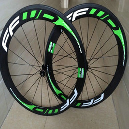 Wholesale Green Clincher Wheels - 5 days delivery FFWD f6r 50mm full carbon road bike wheels white green decal clincher 700C V brake chinese bicycle carbon wheels