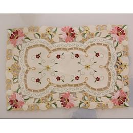 Wholesale Rectangle Banquet Tables - Wholesale- yazi 4PCS Embroidered Daisy Flower Lace Rectangle Doily Mat Fabric Table Placemats Wedding Banquet Decor 4PCS