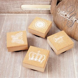 Wholesale Wooden Crowns Wholesale - Wholesale- Creative DIY Lovely Mini Crown Butterfly Lace Tower Shape Wooden Stamp + Inkpad