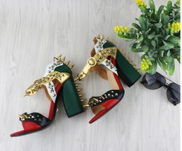 Wholesale Thick Heeled Wedding Shoes - metal buckle rivet thick with high-heeled shoes fashion sexy toe sandals women gladiator sandals mujers summer sandals rivet chunky heels