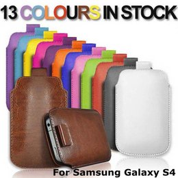 Wholesale Galaxy S4 13 - 13 Colors PU Leather Sleeve Bag Pull Tab Pouch Case Cover For Samsung Galaxy S4 I9500