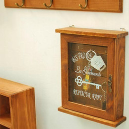 Wholesale Decorative Wood Shelves - Vintage Home Decor Zakka Wooden Wall Key Holder Decorative Wall Shelves Hooks Racks Key Holder Rack 24*20*7.5cm