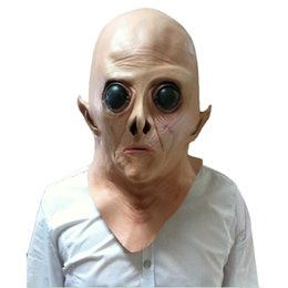 Wholesale Full Alien Costume - Wholesale-Creative Scary Silicone Face Mask Alien Ufo Extra Terrestrial Party ET Horror Rubber Latex Full Masks For Costume Party Cosplay