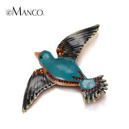 Wholesale Trendy Fashion Wholesale Clothing - Wholesale- eManco Trendy Lampwork Crafts Cute Enamel Birds Brooches for Women Crystal Fashion Jewelry & Clothing Accessories