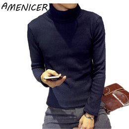 Wholesale Korean Clothing Crochet - Wholesale- Men Fashion Knitting Sweaters Navy Blue Brand Clothing Korean Slim Fit Tracksuit Casual Turtleneck Sueter Hombre Pull Homme