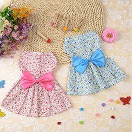 Wholesale Cute Dog Wedding - Cute Dog Lady style Fashion Dress with bowknot Summer Soft Cotton Printing Bow Pet Puppy floral print Clothes