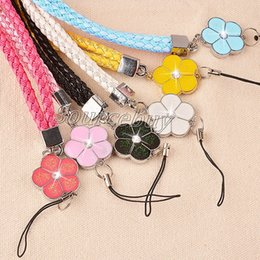 Wholesale Mobile Phone Leather Lanyard - Long PU Leather Weave Lanyards Neck Strap For Mobile Phone ID Card Holder Key USB Camera MP3 4 Hanging Rope with Charms Colorful