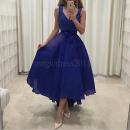 Wholesale Mini Dress White Cocktail Bridesmaid - Elegant Royal Blue Party Homecoming Bridesmaid Dresses 2016 A-Line Deep V-Neck Hi-Lo Chiffon Ruffled Pleated Cocktail Prom Celebrity Gowns