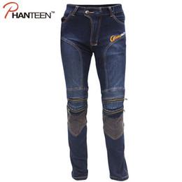Wholesale Motocross Trousers - Wholesale-Man Motocross Pro Riding Elastic Pants Protector Motorcycle Jeans Pantalon Moto Comfortable Biker Men Trousers