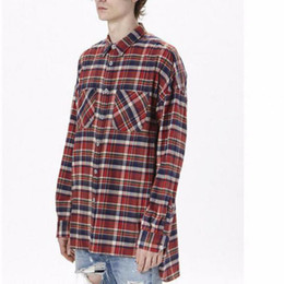 Wholesale Oversized Collar Shirt - Wholesale- Classic US Hip Hop top quality justin bieber feargod fogshirt Men unisex flannel Long-sleeved plaid oversized dress shirt in red
