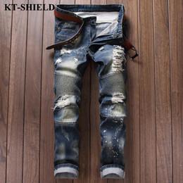 Wholesale Brand Man Jeans - Wholesale- Men Jeans New arrival brand fashion design ripped denim trousers for man slim fit casual distressed jeans pants vaqueros hombre